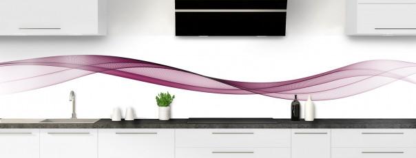Crédence de cuisine Vague graphique couleur prune panoramique