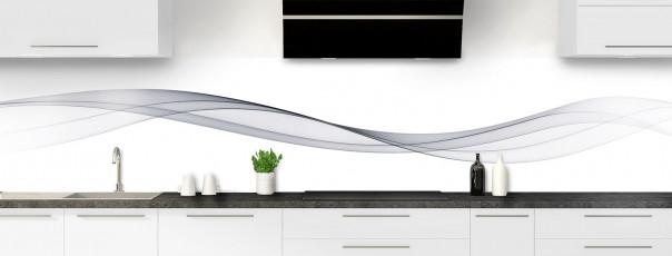 Crédence de cuisine Vague graphique couleur gris métal panoramique
