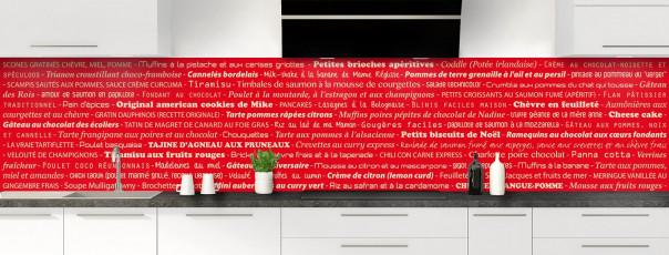 Crédence de cuisine Recettes de cuisine couleur rouge vif panoramique