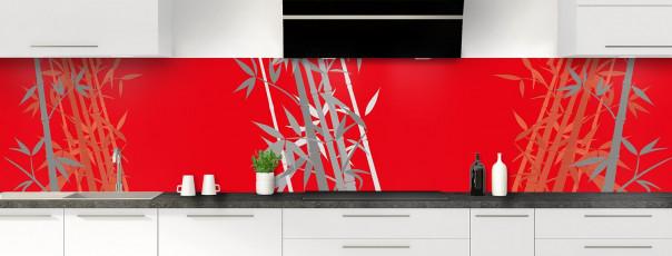Crédence de cuisine Bambou zen couleur rouge vif panoramique motif inversé