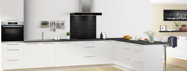 Crédence de cuisine Imitation tissus couleur noir fond de hotte en perspective
