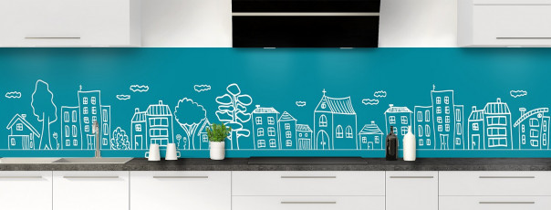 Crédence de cuisine Dessin de ville couleur bleu canard panoramique