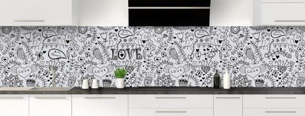 Crédence de cuisine Love illustration couleur gris clair panoramique