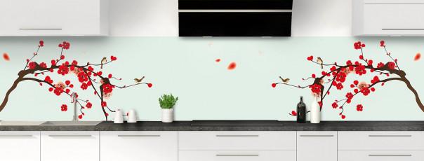 Crédence de cuisine Cerisier japonnais couleur vert eau panoramique motif inversé