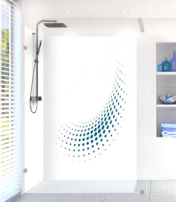 Panneau de douche Nuage de points couleur bleu baltic motif inversé