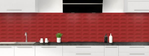 Crédence de cuisine Briques en relief couleur rouge carmin panoramique