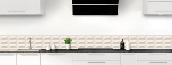Crédence de cuisine Briques en relief couleur magnolia dosseret