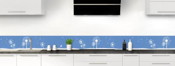 Crédence de cuisine Pissenlit au vent couleur bleu lavande dosseret motif inversé