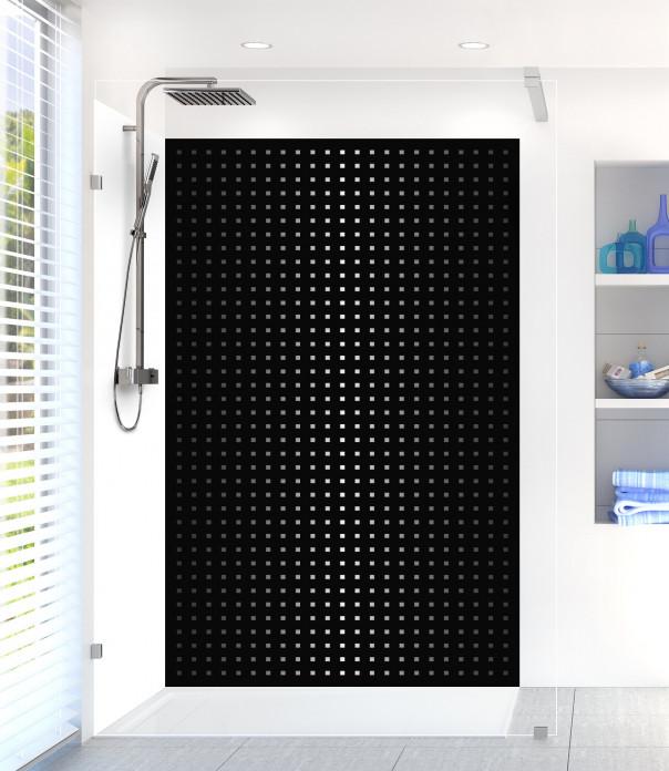 Panneau de douche Petits carrés couleur noir