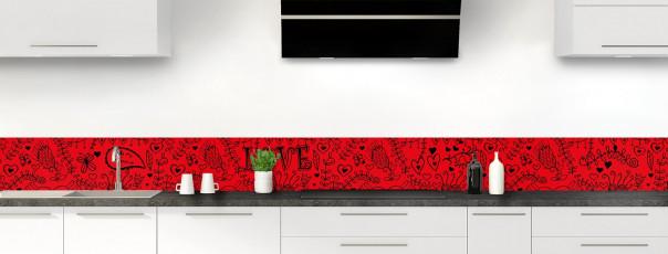 Crédence de cuisine Love illustration couleur rouge vif dosseret
