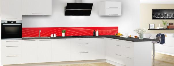 Crédence de cuisine Courbes couleur rouge vif dosseret en perspective