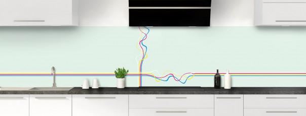 Crédence de cuisine Light painting couleur vert eau panoramique