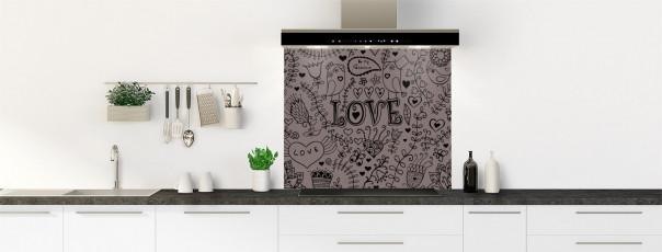 Crédence de cuisine Love illustration couleur taupe fond de hotte
