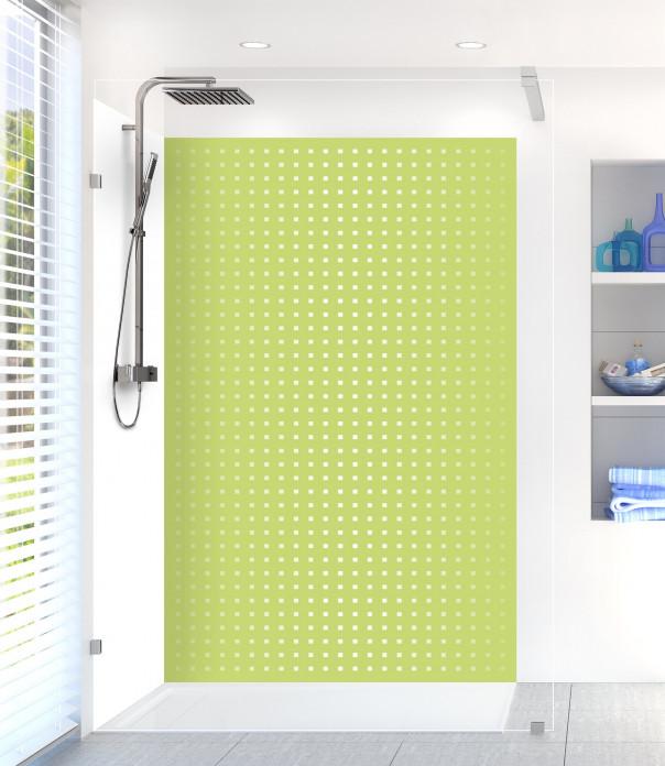Panneau de douche Petits carrés couleur vert olive