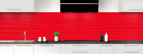 Crédence de cuisine Lignes horizontales couleur rouge vif panoramique