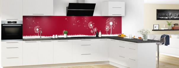 Crédence de cuisine Pissenlit au vent couleur rouge carmin panoramique motif inversé en perspective