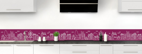Crédence de cuisine Dessin de ville couleur prune dosseret