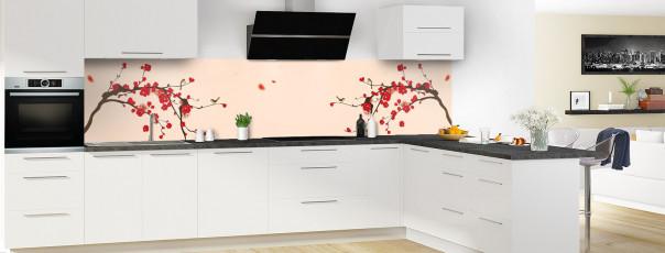Crédence de cuisine Cerisier japonnais couleur sable panoramique en perspective