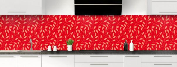 Crédence de cuisine Rideau de feuilles couleur rouge vif panoramique