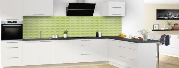 Crédence de cuisine Briques en relief couleur vert olive panoramique en perspective