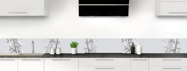 Crédence de cuisine Bambou zen couleur gris clair dosseret motif inversé