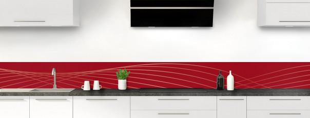 Crédence de cuisine Courbes couleur rouge carmin dosseret motif inversé