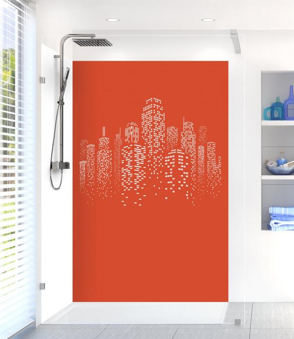 Panneau de douche Gratte-ciels couleur rouge brique motif inversé