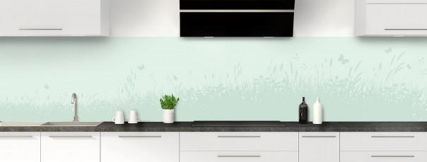 Crédence de cuisine Prairie et papillons couleur vert eau panoramique motif inversé