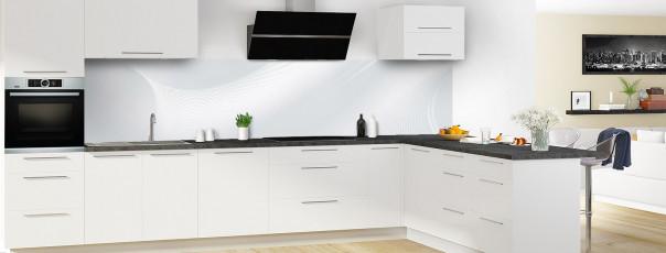 Crédence de cuisine Volute couleur gris clair panoramique en perspective