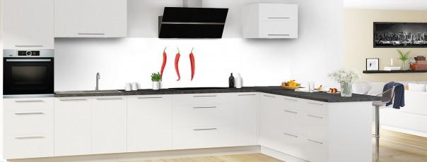 Crédence de cuisine Piments rouges panoramique en perspective