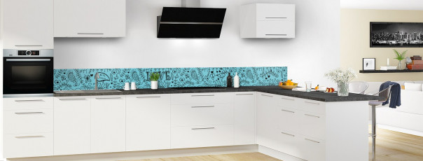 Crédence de cuisine Love illustration couleur bleu lagon dosseret en perspective