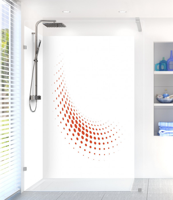 Panneau de douche Nuage de points couleur rouge brique