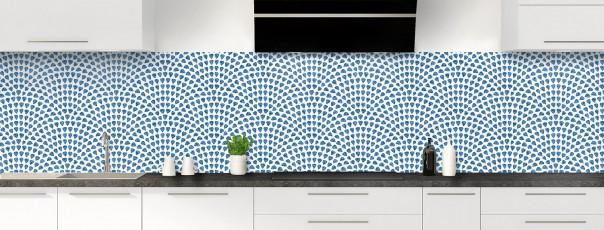 Crédence de cuisine Mosaïque petits cœurs couleur bleu lavande panoramique