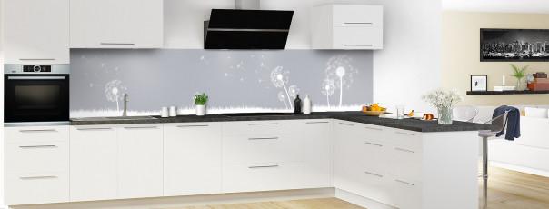 Crédence de cuisine Pissenlit au vent couleur gris métal panoramique motif inversé en perspective