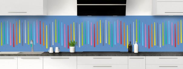 Crédence de cuisine Barres colorées couleur bleu lavande panoramique