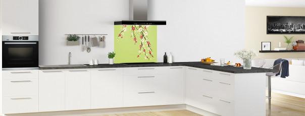 Crédence de cuisine Arbre fleuri couleur vert olive fond de hotte en perspective