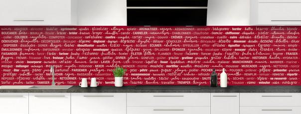 Crédence de cuisine Etapes de recette couleur rouge carmin panoramique
