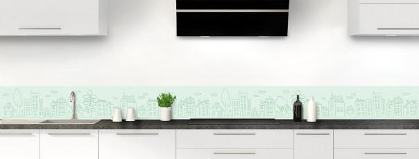 Crédence de cuisine Dessin de ville couleur vert eau dosseret