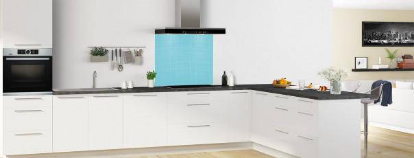 Crédence de cuisine Imitation tissus couleur bleu lagon fond de hotte en perspective