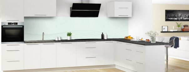 Crédence de cuisine Courbes couleur vert eau panoramique motif inversé en perspective
