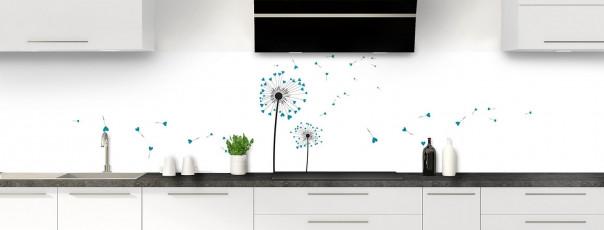Crédence de cuisine Envol d'amour couleur bleu canard panoramique motif inversé
