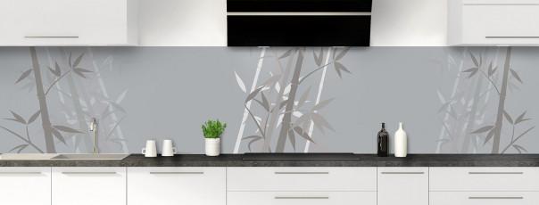 Crédence de cuisine Bambou zen couleur gris métal panoramique