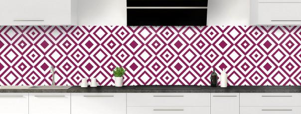 Crédence de cuisine Losanges vintage couleur prune panoramique