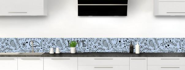 Crédence de cuisine Love illustration couleur bleu azur dosseret