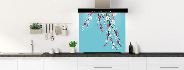 Crédence de cuisine Arbre fleuri couleur bleu lagon fond de hotte