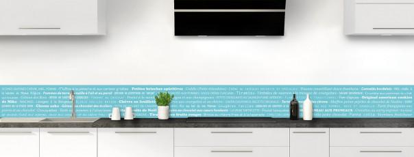 Crédence de cuisine Recettes de cuisine couleur bleu lagon dosseret