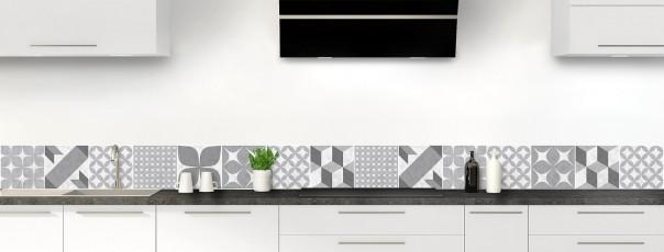Crédence de cuisine Carreaux de ciment patchwork gris dosseret