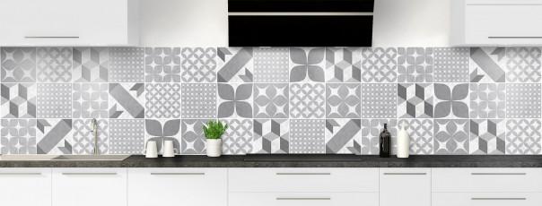 Crédence de cuisine Carreaux de ciment patchwork gris panoramique