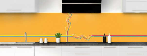 Crédence de cuisine Light painting couleur abricot panoramique