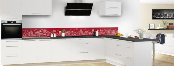 Crédence de cuisine Dessin de ville couleur rouge carmin dosseret en perspective